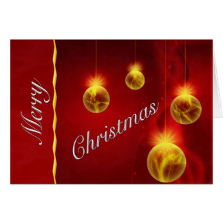 Regal Red and Gold Christmas Balls Greeting Card