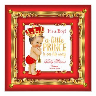 Regal Red Gold Prince Baby Shower Brunette Boy 13 Cm X 13 Cm Square Invitation Card