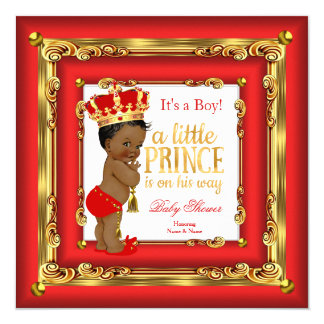 Regal Red Gold Prince Baby Shower Ethnic Boy 13 Cm X 13 Cm Square Invitation Card