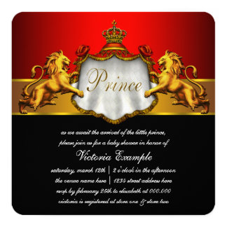 Regal Red Prince Baby Shower Card