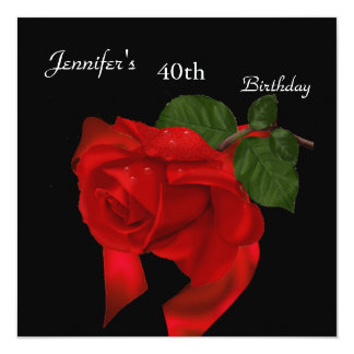 Regal Red Rose 40th Birthday Party on Black 2 Custom Invite