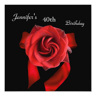 """Regal Red Rose 40th Birthday Party on Black 5.25"""" Square Invitation Card"""