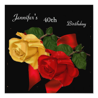 Regal Red Yellow Rose 40th Birthday Party Black Card