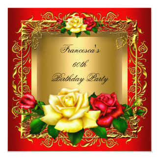 """Regal Red Yellow Roses Gold Elegant Birthday A 5.25"""" Square Invitation Card"""