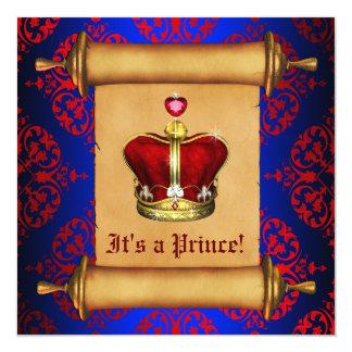 Regal Royal Blue Prince Baby Shower Invitation