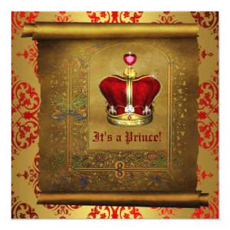 Regal Royal Red and Gold Prince Baby Shower 13 Cm X 13 Cm Square Invitation Card
