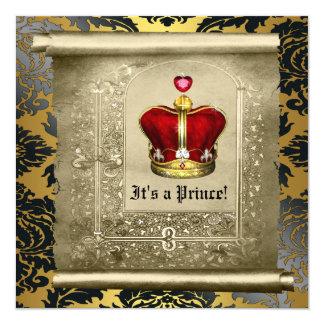 Regal Royal Red Prince Baby Shower 13 Cm X 13 Cm Square Invitation Card