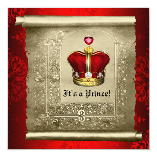 Regal Royal Red Prince Baby Shower Invitation