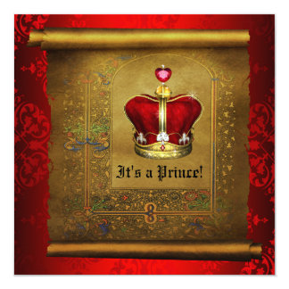 Regal Royal Rich Red Prince Baby Shower 13 Cm X 13 Cm Square Invitation Card