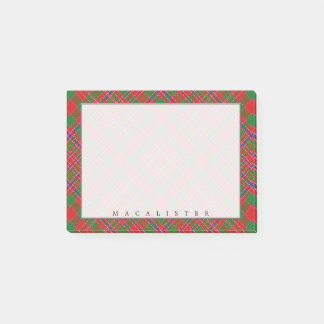 Regal Scottish Clan MacAlister Tartan Post-it Notes