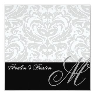 Regal Silver Monogram Damask Wedding Invitation