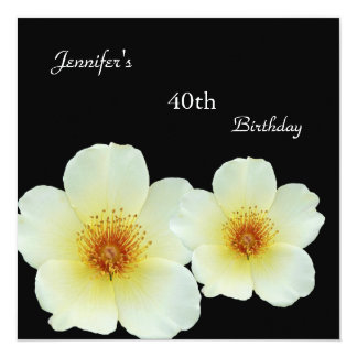 Regal White Yellow Flower 40th Birthday Black 13 Cm X 13 Cm Square Invitation Card