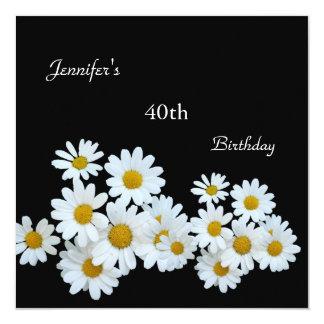 "Regal White Yellow Flower 40th Birthday Black 5.25"" Square Invitation Card"