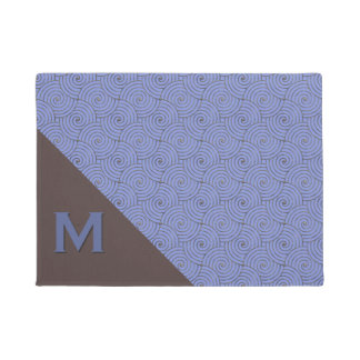 Regency Blue and Brown Monogrammed Door Mat
