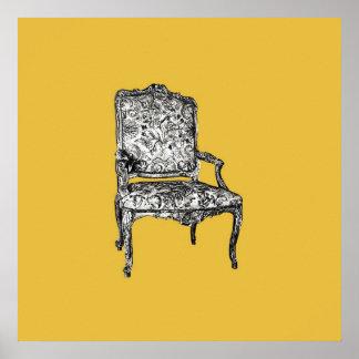 Regency chair in mustard yellow poster