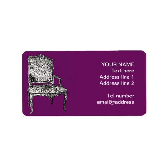 Regency chair in purple address label