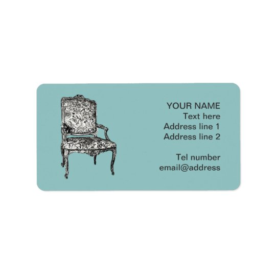Regency chair in turquoise address label
