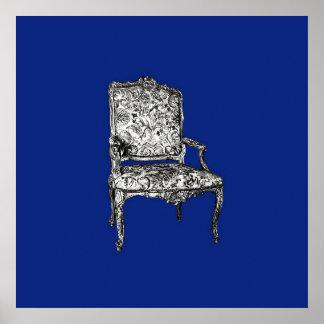 Regency chairs in dark blue poster