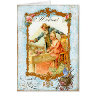 Regency French style Romantic Musical Couple Card