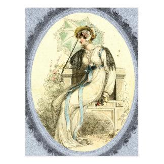 Regency Lady on a Bench Postcard