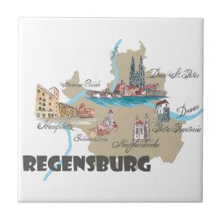 Regensburg Germany map Ceramic Tile