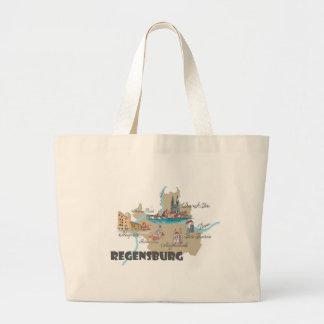 Regensburg Germany map Large Tote Bag