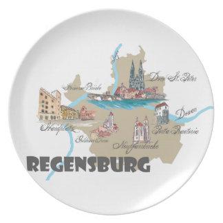 Regensburg Germany map Plate