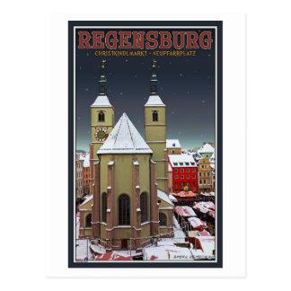 Regensburg Neupfarrplatz Christkindlmarkt Postcard