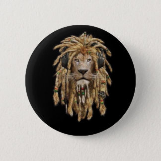 reggae lion 6 cm round badge