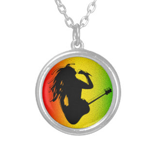 Reggae Music Rastaman Guitar Rasta Round Necklace