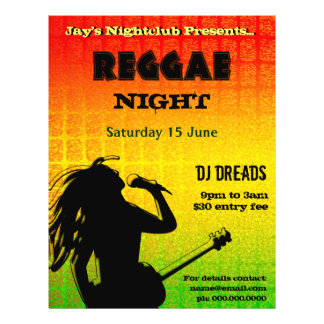 Reggae Night Party or Nightclub Flyer
