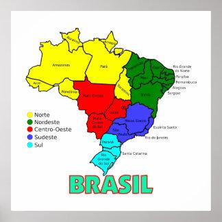 Regions of Brasil Map Poster