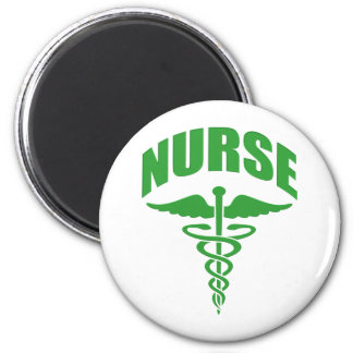 Registered Nurse Caduceus Green 6 Cm Round Magnet