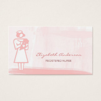 Registered Nurse Girly Pink Watercolor Health Care Business Card