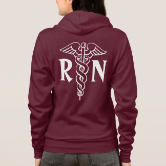 Registered nurse hoodie with caduceus symbol