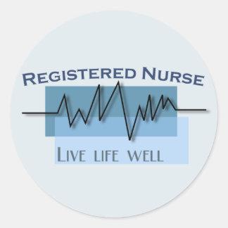 Registered Nurse  Live Life Well Logo Round Sticker