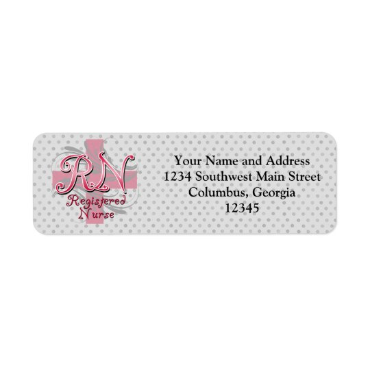 Registered Nurse, Pink Cross Swirls Return Address Label