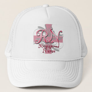 Registered Nurse, Pink Cross Swirls Trucker Hat