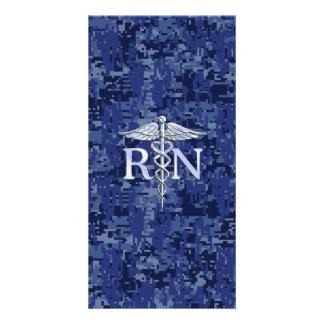 Registered Nurse RN Caduceus on Navy Blue Camo Picture Card