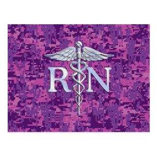 Registered Nurse RN Caduceus on Pink Camo Postcard