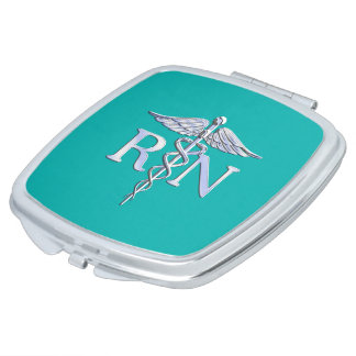 Registered Nurse RN Caduceus on Turquoise Decor Mirror For Makeup