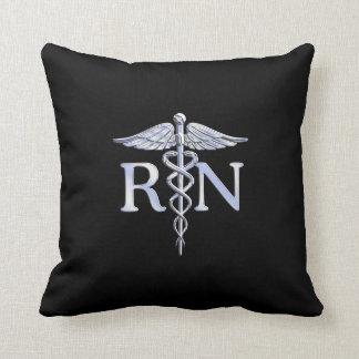 Registered Nurse RN Caduceus Snakes Style on Black Cushion