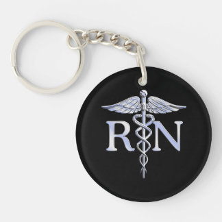 Registered Nurse RN Caduceus Snakes Style on Black Double-Sided Round Acrylic Key Ring
