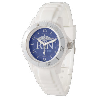 Registered Nurse RN Navy Blue Monogram Dial Wristwatches