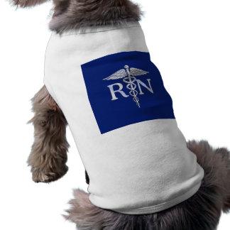 Registered Nurse RN Silver Caduceus Navy Blue deco Sleeveless Dog Shirt