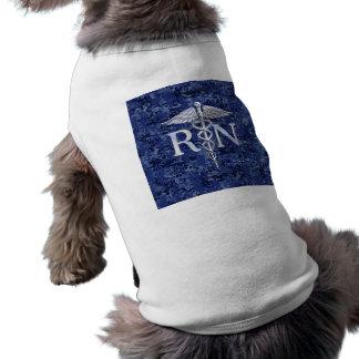 Registered Nurse RN Silver Caduceus on Navy Camo Sleeveless Dog Shirt