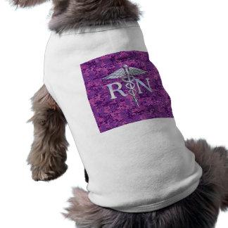 Registered Nurse RN Silver Caduceus on Pink Camo Sleeveless Dog Shirt