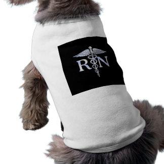 Registered Nurse RN Silver Caduceus Snakes Black Sleeveless Dog Shirt