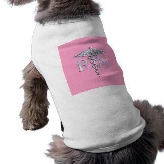 Registered Nurse Silver Caduceus Light Pink Decor Sleeveless Dog Shirt