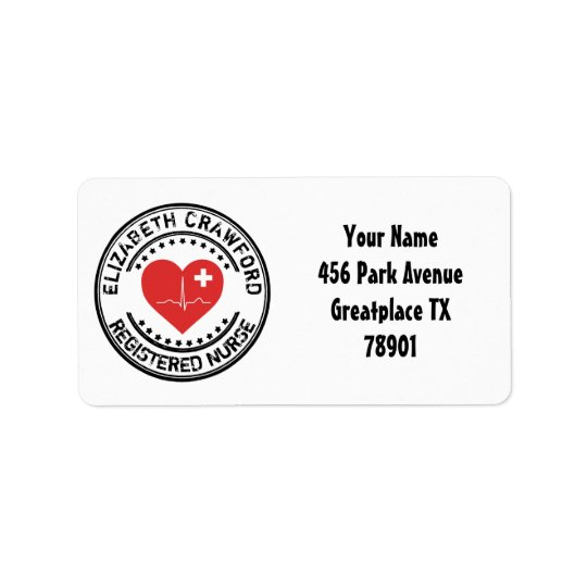 Registered Nurse Stamp Heart ECG With Your Name Address Label